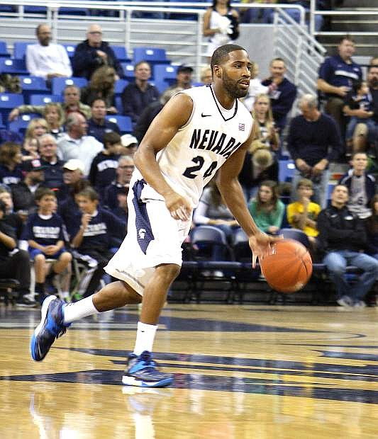 Nevada guard Deonte Burton dribbles the ball during a game this season. The Wolf Pack host Colorado State and Air Force this week at the Lawlor Events Center in Reno.