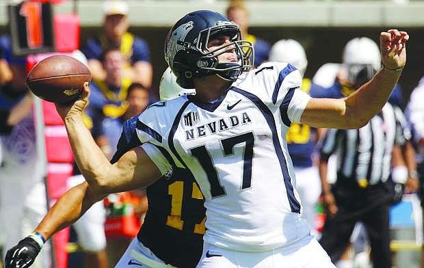 Nevada quarterback Cody Fajardo drops back to pass during a game last year. Fajardo returns for his junior year at Nevada.