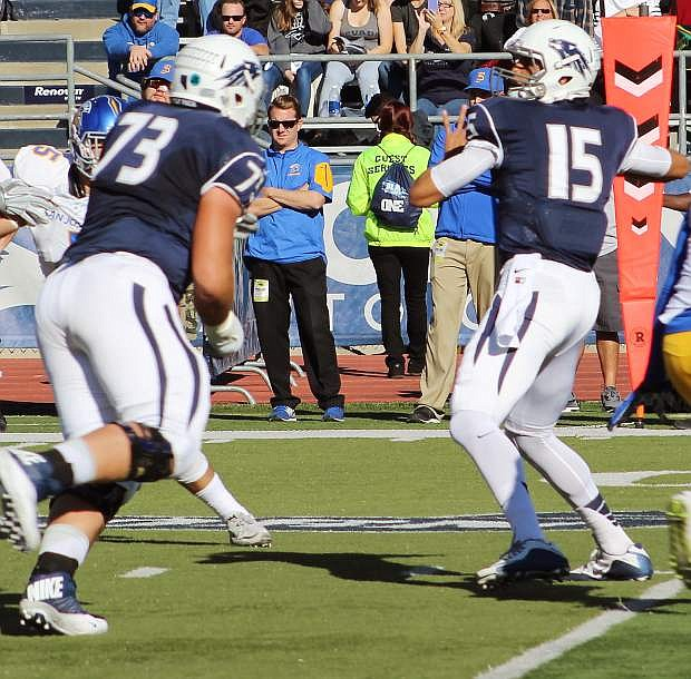 Nevada quarterback Tyler Stewart, seen her against San Jose State, will lead Nevada Saturday night at San Diego.