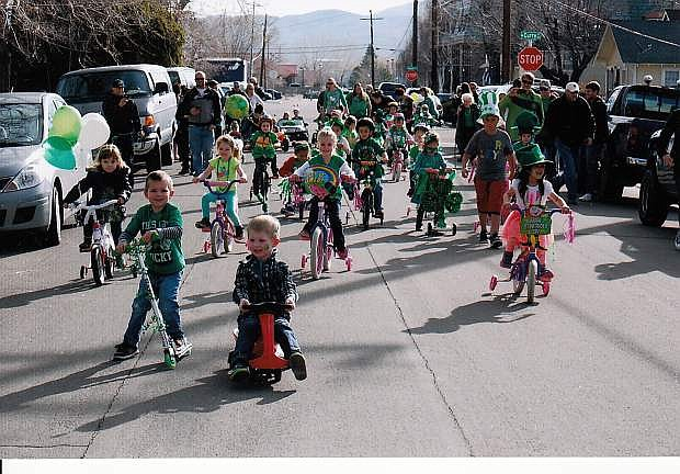 Students participate in Kinderland Nursery School's St. Patrick's Day parade on March 14.