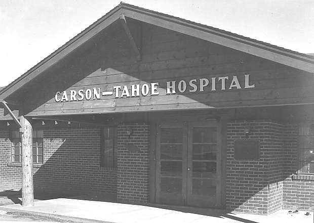 Carson-Tahoe Hospital's first campus in 1955. A fire in 1968 destroyed the building, and the infirmary at Stewart was called into play. Construc tion for this building in 1949 topped out at $80,000.