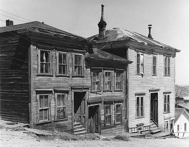 Buildings along the north side of Taylor Street between B and A streets in Virginia City.