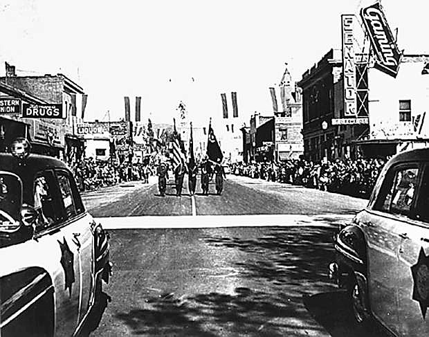 Downtown Carson during the Nevada Day Parade in about 1950.