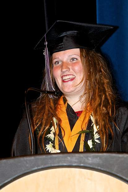 Pioneer High School Valedictorian Brianna Rotter addresses the audience and her classmates at graduation ceremonies Wednesday evening at the Carson City Community Center.