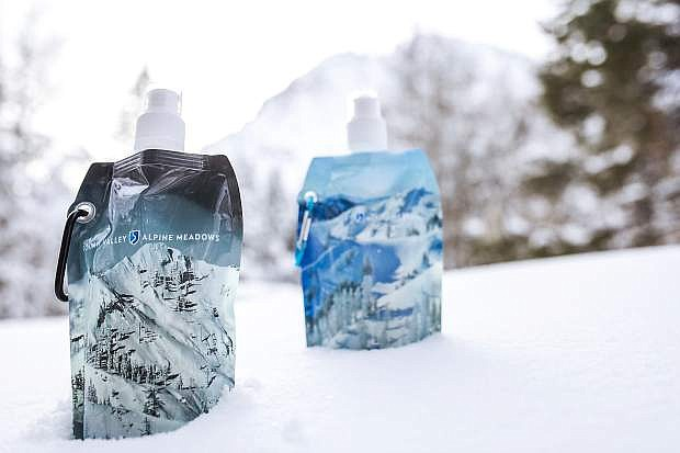 Squaw Valley | Alpine Meadows is discontinuing the sale of single-use plastic water bottles and will instead sell reusable water bottles, as seen.