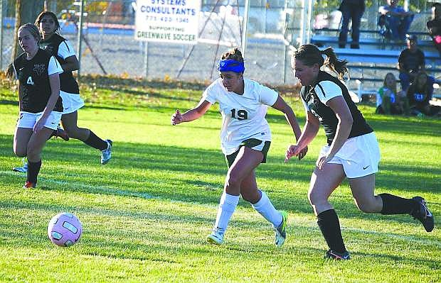 Fallon's Rachael Harrell (19) runs toward the ball in the Lady Wave's 4-0 win over Fernley on Thursday. The Lady Wave has clinched a berth in the Northern Division I-A playoffs.