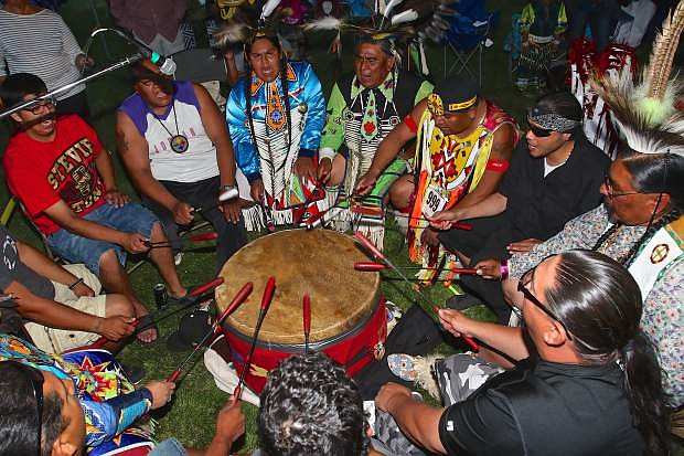 The Sagepoint Drum Circle of Fort Hall, Idaho performs Friday evening at the Powwow.
