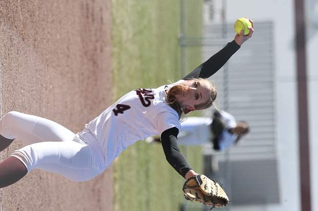 Makayla Shadle delivers a pitch to a South Tahoe batter on Tuesday.