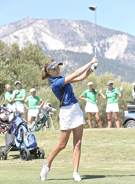 Carson sophomore Jill Beglin tees off at Toiyabe Golf Course Wednesday.