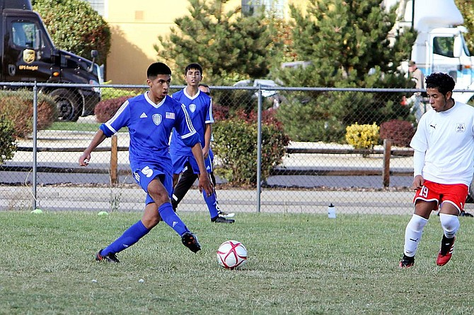 Ernesto Lamas controls the ball for Carson on Wednesday.