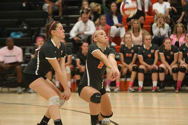 Ariah Barth of Douglas bumps the ball in a match against Manouge on Tuesday.