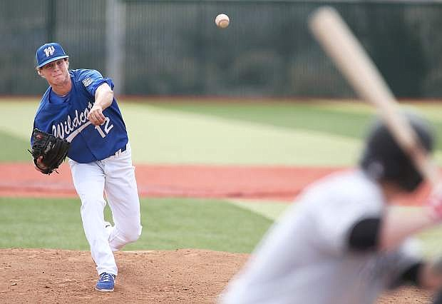 Western Nevada College's Christian Stolo pitches against Mt. Hood at John L. Harvey Field in Carson City, Nev., on Friday, March 14, 2014.