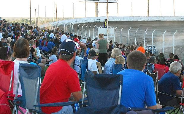 Fans pack the stands during Friday's Fourth of July races at Rattlesnake Raceway.