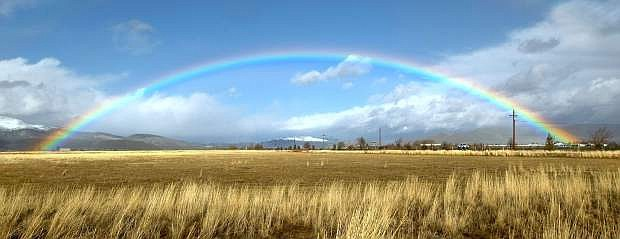 A rainbow in Carson Valley shows a respite in the stormy weather on Jan. 19. February has so far been short on rainbows, but long on sunshine.