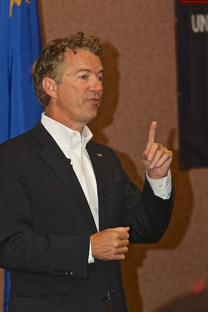 Rand Paul cautions the audience regarding other Republican presidential candidates Thursday morning at the Gold Dust West Casino.