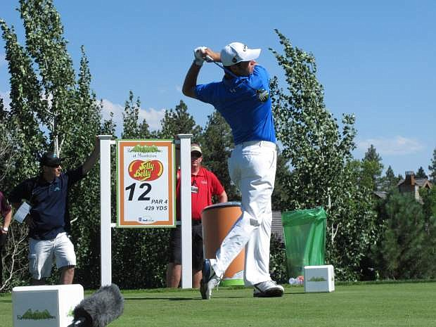 Gary Woodland hits his tee shot on the 429-yard, par-4 12th on Sunday Aug. 4, 2013 in the final round of the Reno-Tahoe Open at Montreux Golf Club on the edge of the Sierra Nevada. (AP Photo/Scott Sonner).