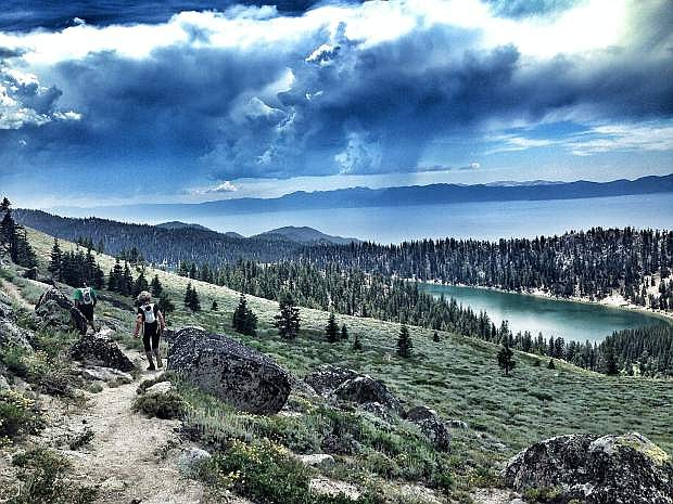 Runners hope to avoid stormy weather on Marlette Peak during the Tahoe Rim Trail Endurance Runs this past weekend.