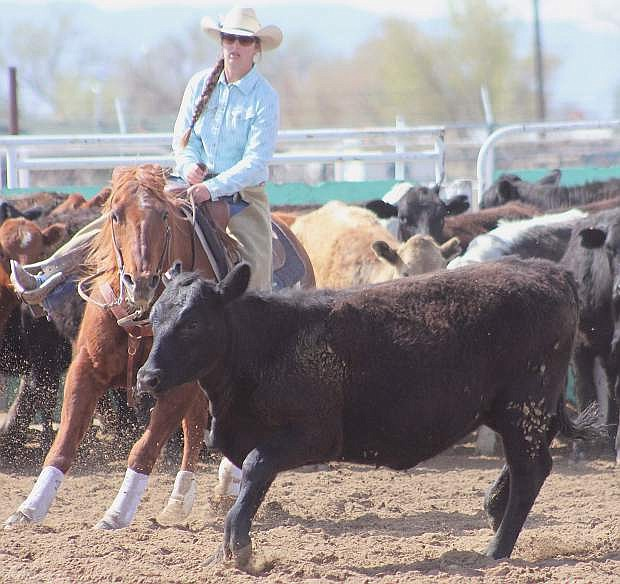 Fallon cowgirl Jessica Gomes competes in cutting during the state finals last weekend in Elko. She finished third and qualified for the National High School Finals Rodeo in July.