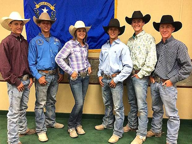 Fallon Rodeo Club members from left are Blain Jensen, Silver State International Rodeo qualifier in team roping, Caleb Hendrix, national qualifier, Leighton Beyer, SSIR qualifier, Cord Hendrix, national, Mackary Spyrow, national, and Jes Tews, national. Not pictured are Sam and Matt Goings, Sydney Felton and Joleen Weir, who all qualified for the SSIR.