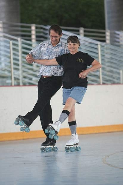 Joe and Mary Reeley of Carson City skate at the Pony Express Pavilion at Mills Park on Friday evening during the summer skate night hosted by the Carson City Recreation Division and the sheriff's explorers. The event continues Aug. 2, Aug. 9 and Aug. 16 from 6:30 to 10:30 p.m. for $3 per skater. Participants must bring their own skates.