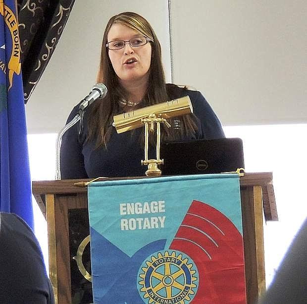 Library Director Sena Loyd talks to the Rotary Club on Tuesday.