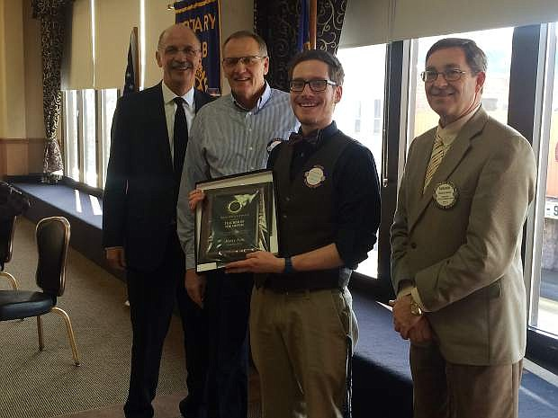 Mr. Kois is seen with Rotary President Fernando Serrano, Sierra Lutheran Principal Pastor Jules Clausen, and Carson City Superintendent of Schools Mr. Richard Stokes.