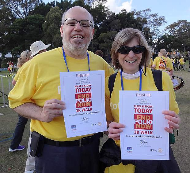 Rotary District 5190 Governor Joe Zarachoff and wife Cheryl smile after completing a 3K Walk To End Polio last year in Sydney, Australia.