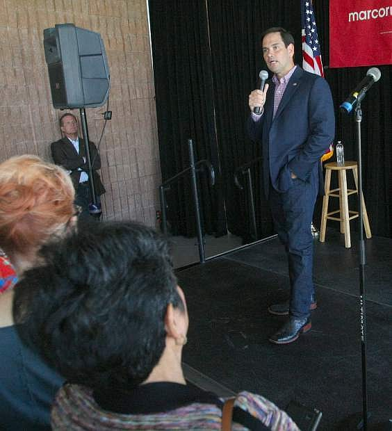 Senator Marco Rubio speaks with his supporters at the Carson City Community Center on Tuesday.