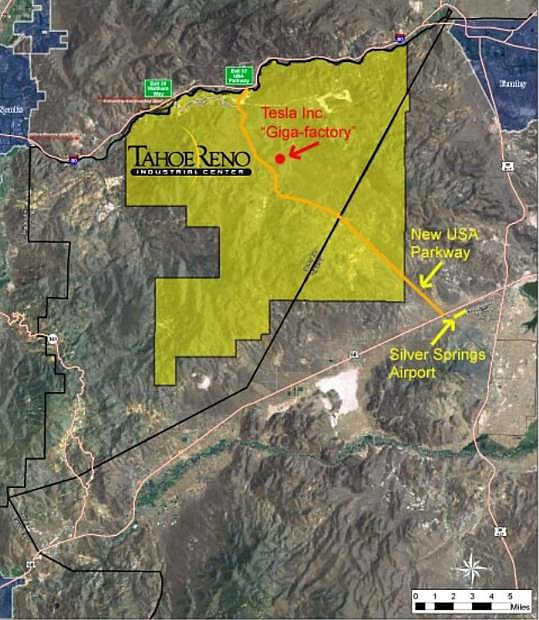 The path of the USA Parkway extension through the Tahoe Reno Industrial Center in this map shows it's terminus on U.S. Highway 50 just southwest of the Silver Springs Airport, which is undergoing a new master plan planning process to prepare it for future growth.