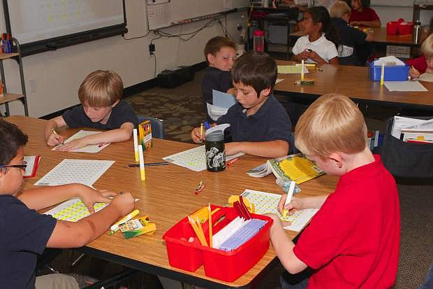 Third grade students at Seeliger Elementary in Carson City work on multiplication patterns Friday afternoon.