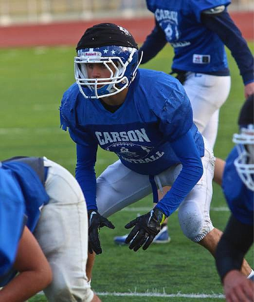 Linebacker Nolan Shine waits for the snap of the ball on Wednesday at CHS.
