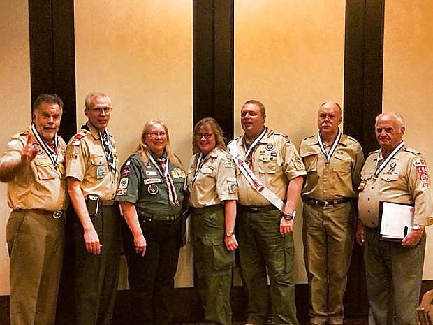 The Boy Scouts of America National Council held its annual recognition dinner at the Atlantis Casino in Reno, where eight volunteers in the Nevada Area Council were honored with the Silver Beaver Award for outstanding service to the community and Boy Scouts of America. Shown from the left are Nevada Area Council President Jim Rogers; Gene Furr of Reno; Barbara Stewart of Reno; Lavonne Applewhite of Sparks; Karl Marsh of Fallon; Mike Rowe of Minden; and Monte Haines of Carson City. Not pictured is Robert Colbert of Elko.