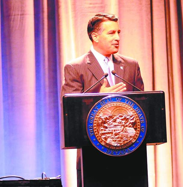 Gov. Brian Sandoval addresses the Goveror's Conference on Small Business in Reno on Wednesday.