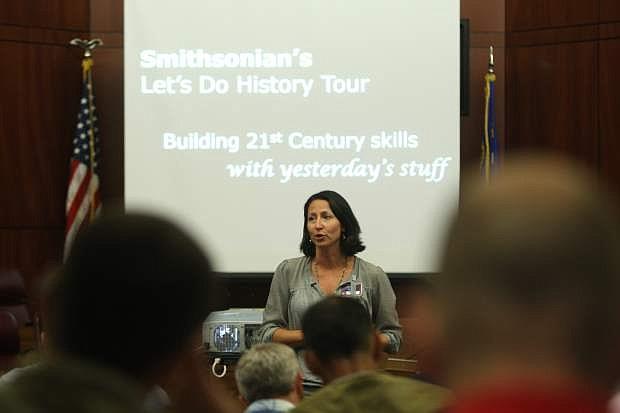 Mena Dedmon, an implementation specialist at Carson High School speaks to social studies teachers on Monday.