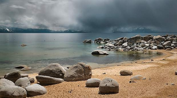 A spring 2016 storm moves over Lake Tahoe, as seen from Speedboat Beach. According to UC Davis, while precipitation was near average last year, only 6.5 percent of it fell as snow in 2015, the lowest amount ever recorded.
