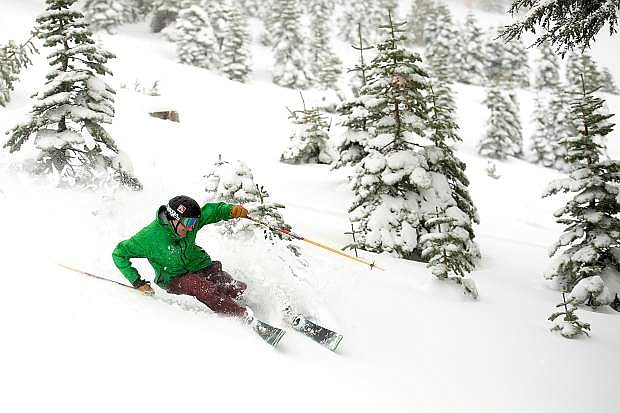 Larry Segal enjoys new snow at Squaw Valley in early December 2014, after the resort received nearly 2 feet of snow up top. It marked the only significant storm of the 2014-15 season.