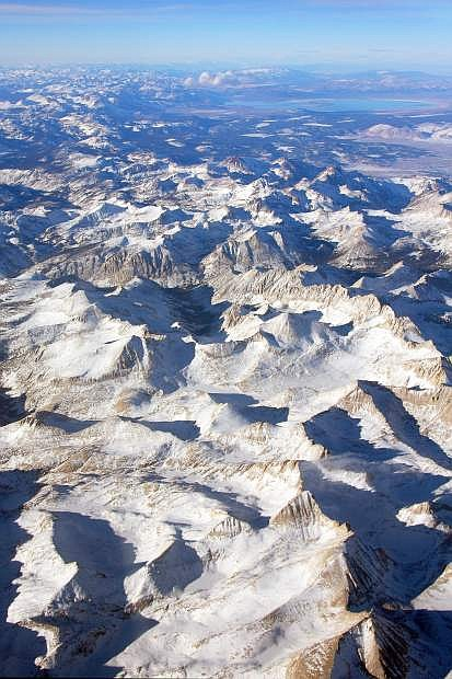 Provided to the Tribune by Jeff Pang. A 2008 aerial photo shows the Sierra Nevada snowpack near Mono Lake.