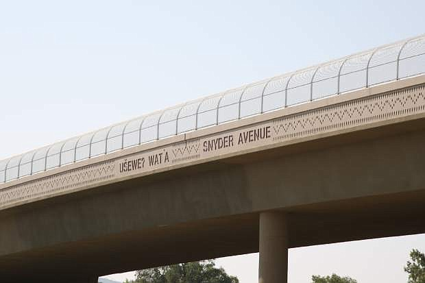 The recently completed Snyder Avenue bridge also displays the Washoe name for the area as shown here Thursday.