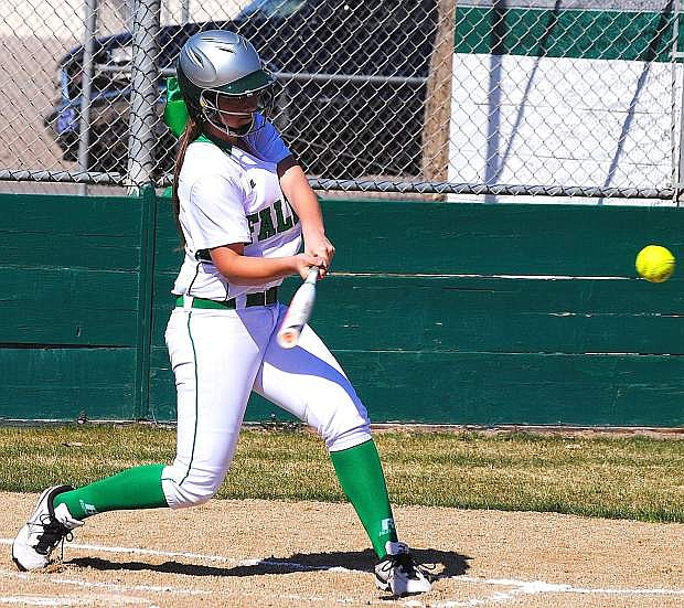 Fallon freshman Hannah Frank swings at a pitch durng a game last week. The Lady Wave host Spring Creek for a three-game series starting at 3 p.m. today.