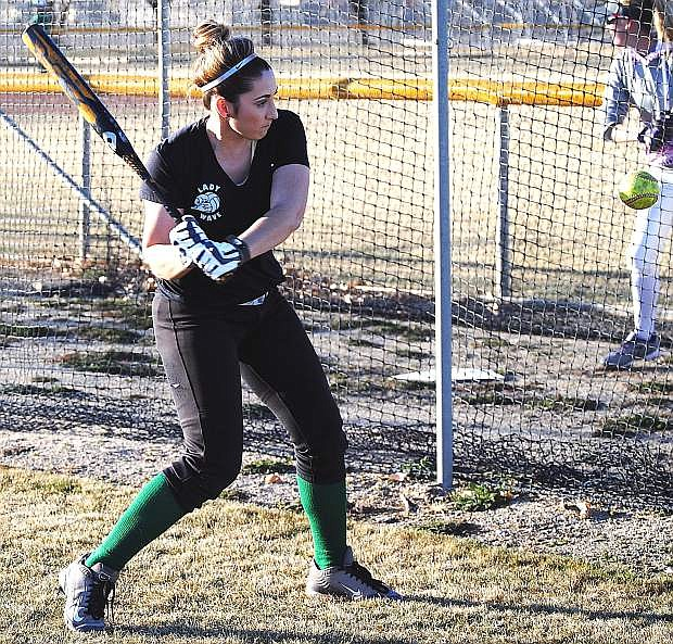 Fallon junior Paige Thorn works on her swing duirng practice. The Lady Wave begin their defense of the Division I-A state title Thursday at the Elk Grove Tournament in California.
