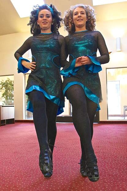 Alli Belton and Ali Ramos from the Blanchette School of Irish Dance of Reno perform a dance for Carson Plaza retirement home residents Thursday for St. Patricks Day.