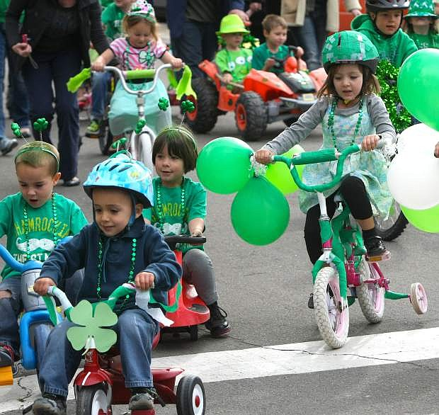 More than 30 children participated in the annual Kinderland St. Patrick's Day parade on Tuesday.