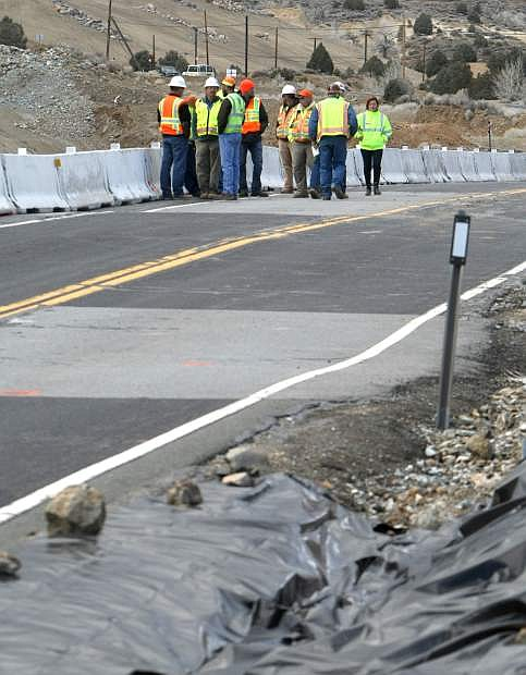Officials from Nevada Department of Transportation and Comstock Mining meet on Monday to discuss road safety issues on State Route 342 near Gold Hill.