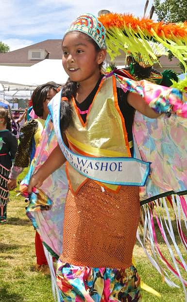 Little Miss Washoe Jordyn Wyatt dances Saturday at the Stewart Father's Day Powwow.