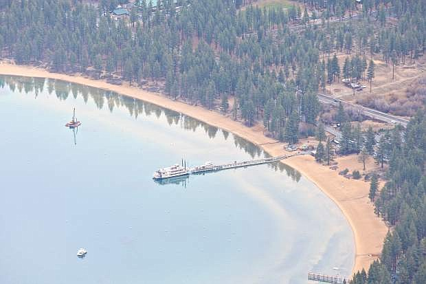 The MS Dixie is shown in Zephyr Cove Wednesday during a scenic Tahoe flight thanks to Carson Aviation Services.