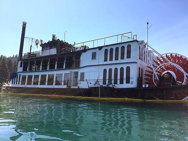 An up-close view of the Tahoe Queen after flames were put out Tuesday morning, Aug. 16.