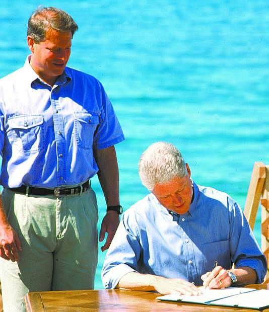 Vice President Al Gore, left, and  President Bill Clinton attended the first Lake Tahoe Summit in 1997.