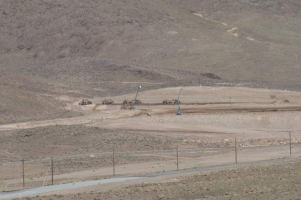 A large swath of land is shown being prepared for construction off of USA Parkway east of Reno for what could be the new Tesla 'gigafactory' battery complex.