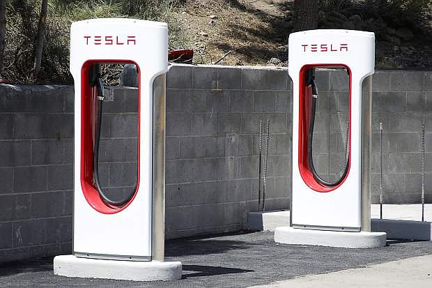 Two of the six Tesla charging stations are seen behind Safeway on Donner Pass Road in Truckee. The Tahoe Regional Planning Agency wants to make upgrades for electric vehicles.