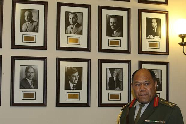 Brig. Gen. Tau' aika' Uta' atu, commander of Tonga's armed forces visits the governor's office on Monday.